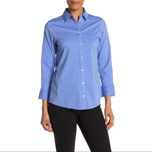 FOXCROFT Women's Blue Non-Iron Fitted Top